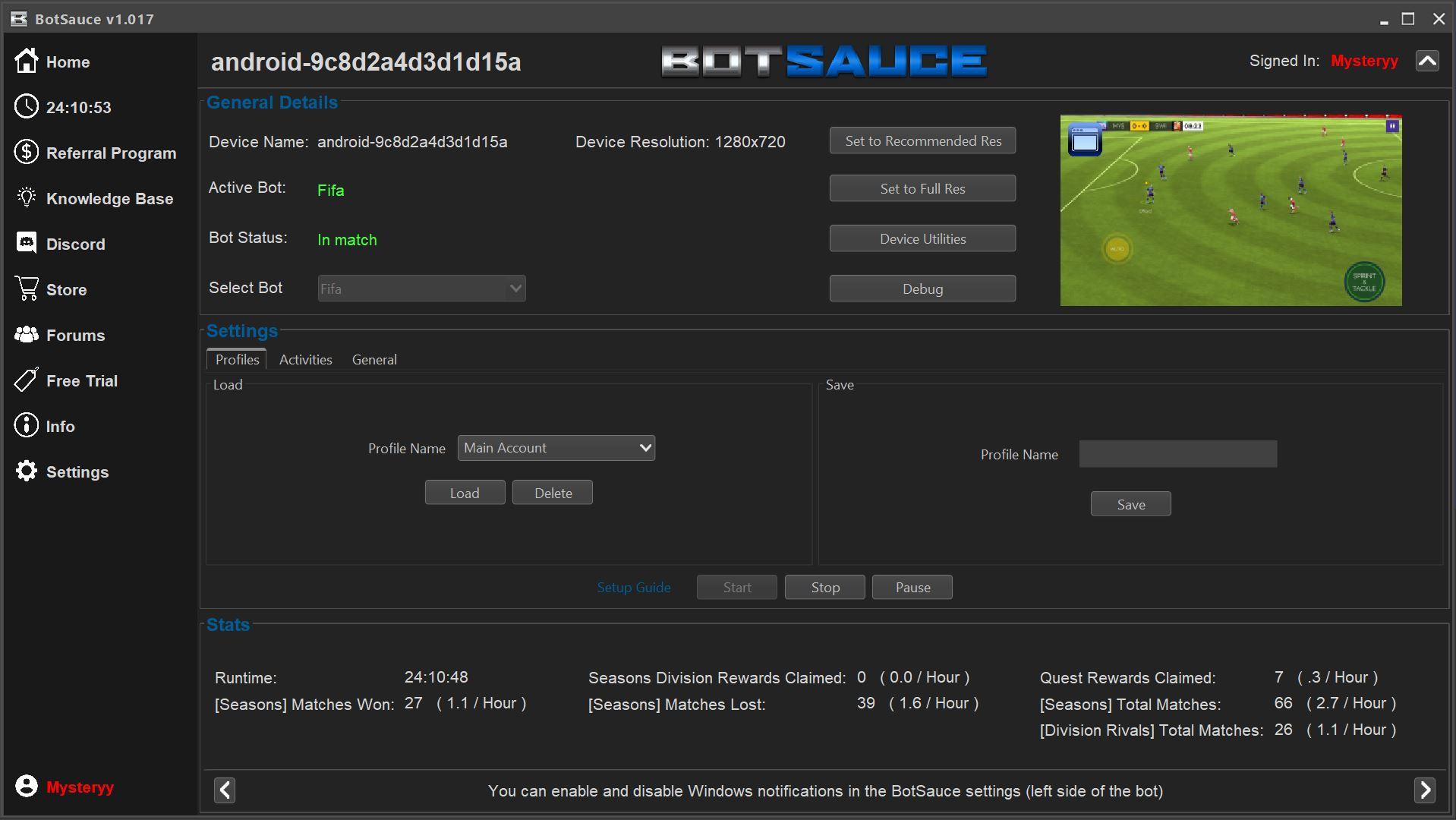 BotSauce bot running FIFA Mobile image